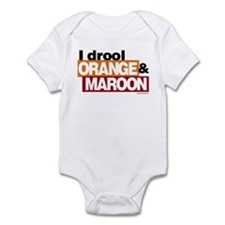 I Drool Orange and Maroon Infant Bodysuit