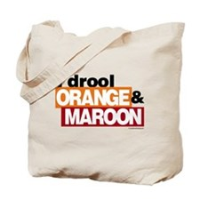 I Drool Orange and Maroon Tote Bag