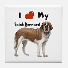 I Love My Saint Bernard Tile Coaster