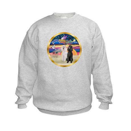 XmasMagic/2 Std Poodles Kids Sweatshirt
