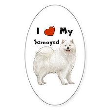 I Love My Samoyed Oval Decal