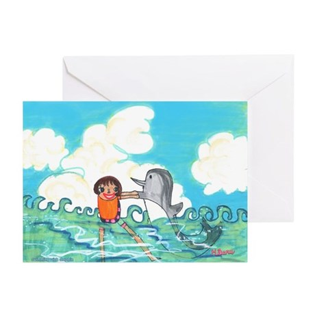 Hikaru's Swimming with Dolphin Greeting Cards (Pk