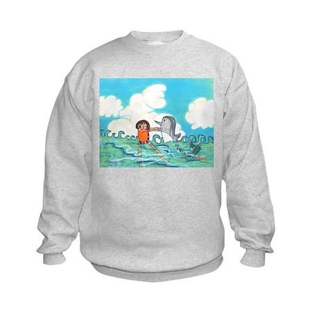 Hikaru's Swimming with Dolphin Kids Sweatshirt