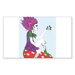 Flower Fairy on Mushroom Rectangle Sticker 50 pk)