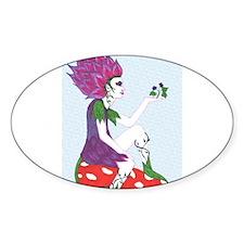 Flower Fairy on Mushroom Oval Sticker (10 pk)