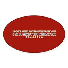 Master Debater Oval Decal