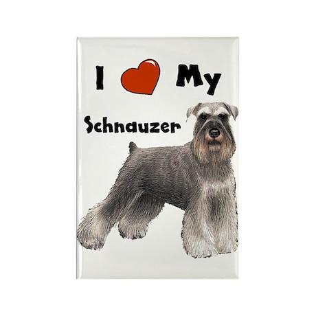 I Love My Schnauzer Rectangle Magnet