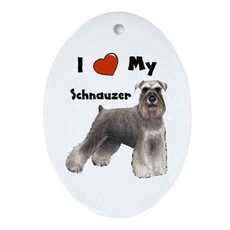 I Love My Schnauzer Oval Ornament