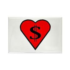 Black Heart = $$$'s Rectangle Magnet