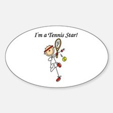 Male Tennis Star Oval Decal