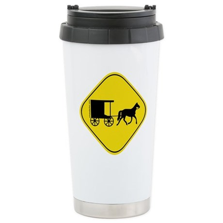 Amish Buggy Crossing Stainless Steel Travel Mug