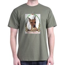 Red Min Pin Happy Holidays T-Shirt