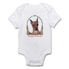 Red Min Pin Happy Holidays Infant Bodysuit