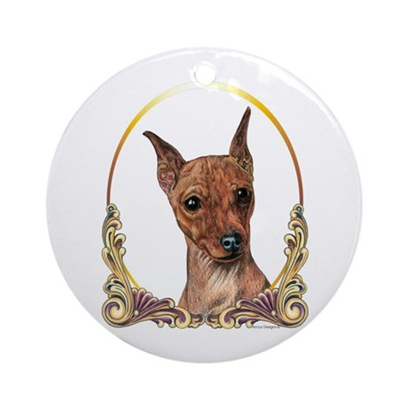 Red Min Pin Christmas Ornament (Round)