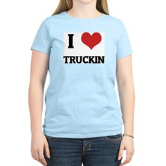 I Love Truckin Women's Pink T-Shirt