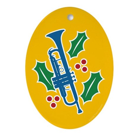 Trumpet Holly Oval Ornament