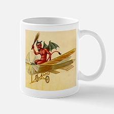 Halloween Krampus Devil Flying Airplane Coffee Mug