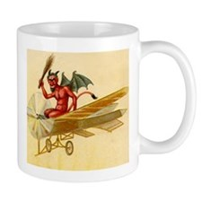 Halloween Krampus Devil Flying Airplane Coffee Mug