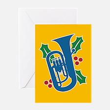 Tuba Holly Greeting Card