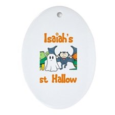 Isaiah's First Halloween Oval Ornament