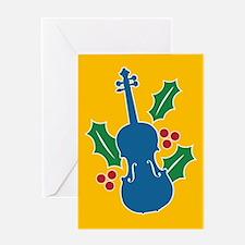 Violin Holly Greeting Card
