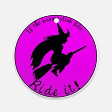 Magical Witch Broom Ornament (Round)
