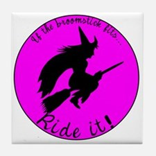 Magical Witch Broom Tile Coaster