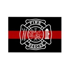 Firefighter Thin Red Line Rectangle Magnet (100 pa