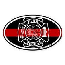 Firefighter Thin Red Line Oval Stickers