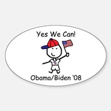 Obama - Yes We Can Oval Decal