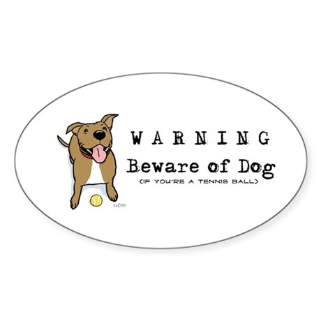 Beware of Dog Oval Sticker