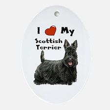 I Love My Scottish Terrier Oval Ornament
