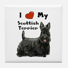 I Love My Scottish Terrier Tile Coaster