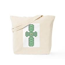 Engraved Green Celtic Cross Tote Bag