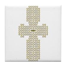 Engraved Gold Celtic Cross Tile Coaster