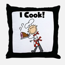 Male Chef I Cook Throw Pillow