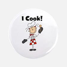 """Female Chef I Cook 3.5"""" Button"""