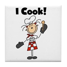 Female Chef I Cook Tile Coaster