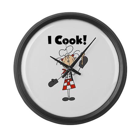 Female Chef I Cook Large Wall Clock