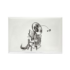Catoons tuba cat Rectangle Magnet