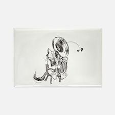 Catoons tuba cat Rectangle Magnet
