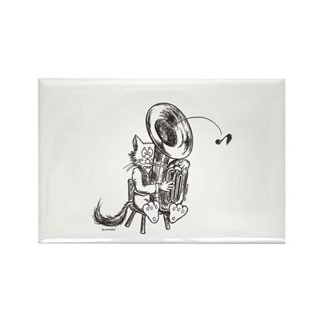 Catoons tuba cat Rectangle Magnet (10 pack)