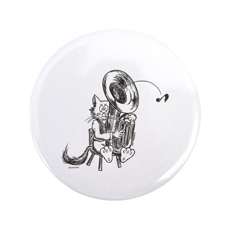 """Catoons tuba cat 3.5"""" Button (100 pack)"""