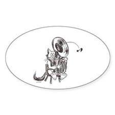 Catoons tuba cat Oval Decal
