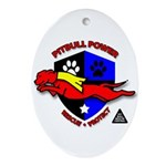 Pit Bull Power Oval Ornament