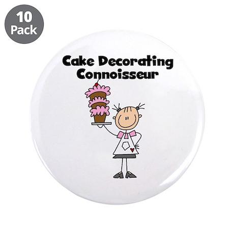 "Female Cake Decorator 3.5"" Button (10 pack)"