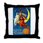 Owl and Witch Throw Pillow