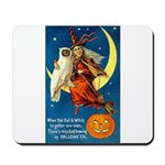 Owl and Witch Mousepad