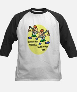DOUBLE THE TROUBLE, DOUBLE TH Kids Baseball Jersey