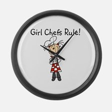Girl Chefs Rule Large Wall Clock